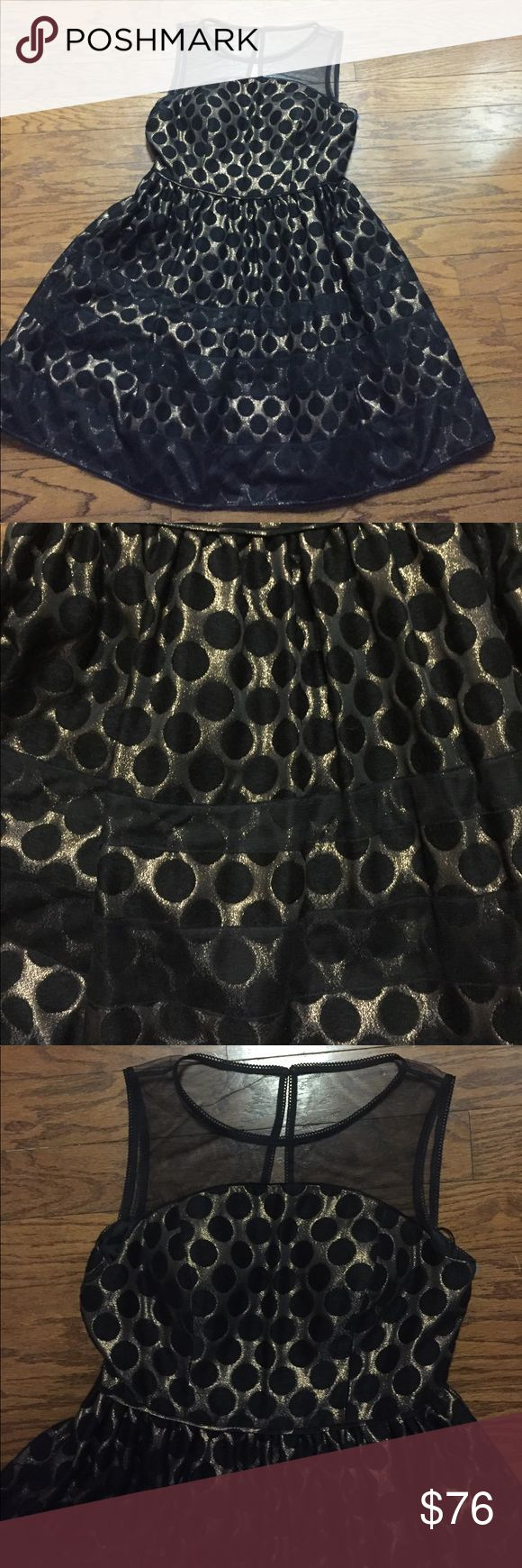 Adrianna Papell dress Black sheer top with gold metallic  and circular design. Fitted waist and full bottom lined. Special occasion dress Adrianna Papell Dresses