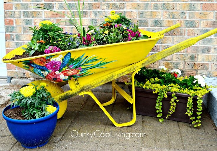 Recycle a rusty wheelbarrow and use it for your garden!  Love this idea!!  Click for before and after pics. hometalk.com