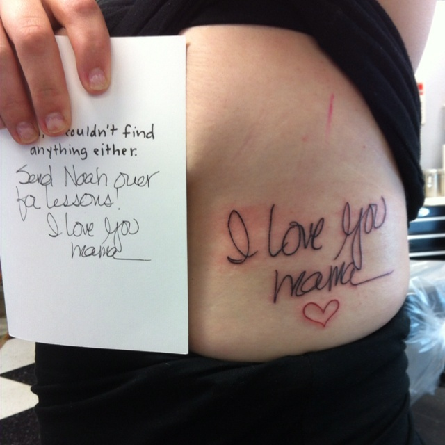 Memorial Tattoo For My Dad His Hand Writing: Moms Handwriting Tattoo . RIP Mama