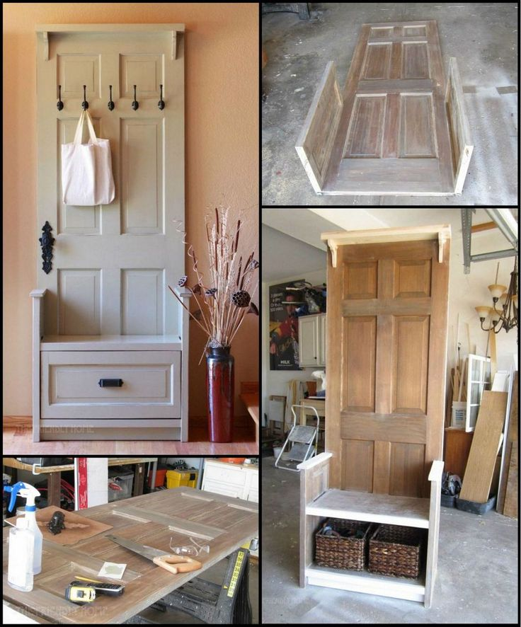 How To Build An Entry Bench From An Old Door http://theownerbuildernetwork.co/jnnr Buying a new entry bench or making one from scratch can be expensive. This entry bench on the other hand is unbelievably affordable. Most of the timber is either reclaimed or scrap, and all that is needed to be bought are the hardware and finishing materials that only cost around $53!