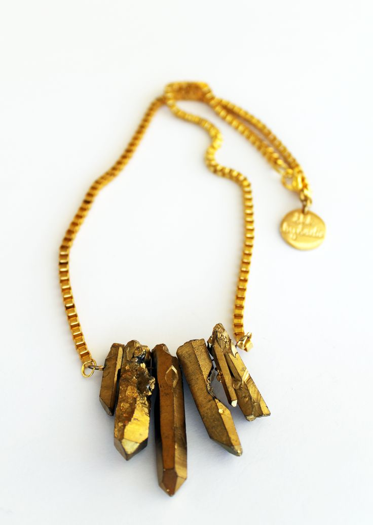 Gold crystal quartz necklace with gold box chain.  Handmade in Wellington, NZ, by Shh by Sadie designer Sadie Hawker. Shhbysadie.com Spike necklace / aztec jewellery