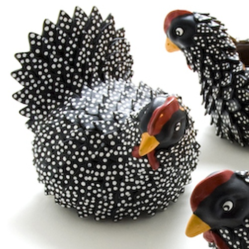 these Painted Ceramic Chickens Handmade in Bolivia will brighten up any room.