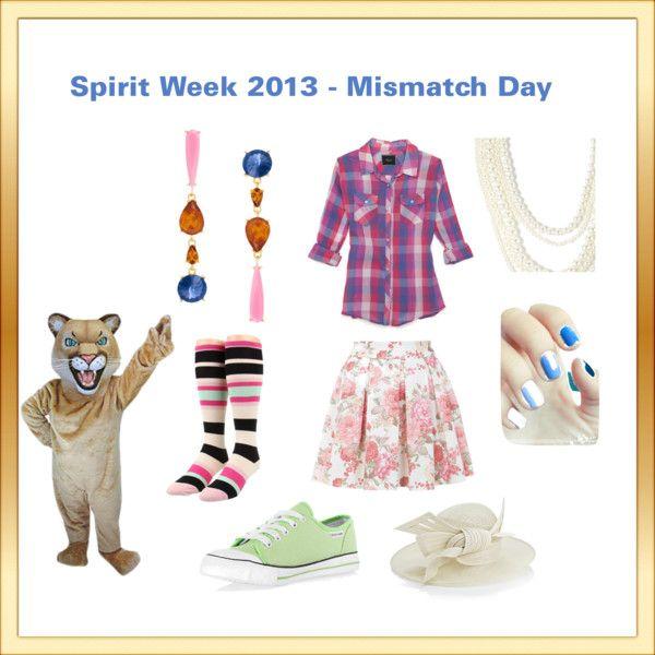 """""""Spirit Week - Mismatch Day"""" by ravioliqueen on Polyvore"""