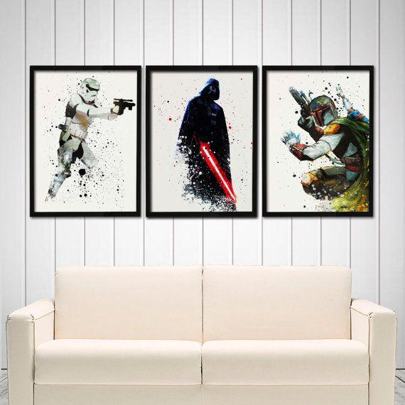 Star Wars Poster Set  Darth Vader Boba Fett by watercolormagazine