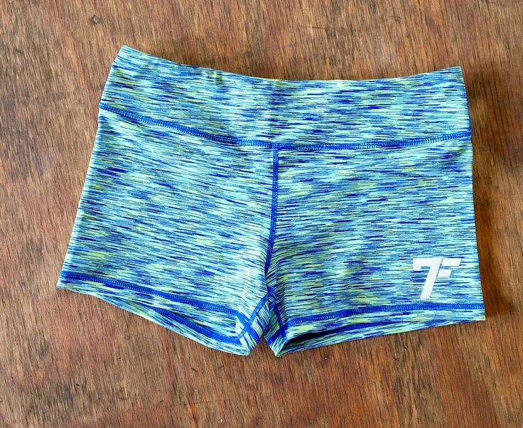Women's 7Five multi-color tights shorts - GREEN/BLUE
