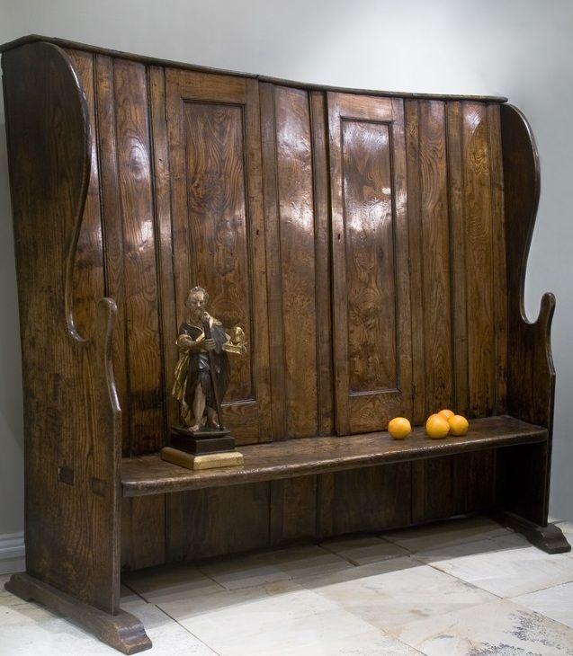 English Elm Bacon Settle, 18th Century