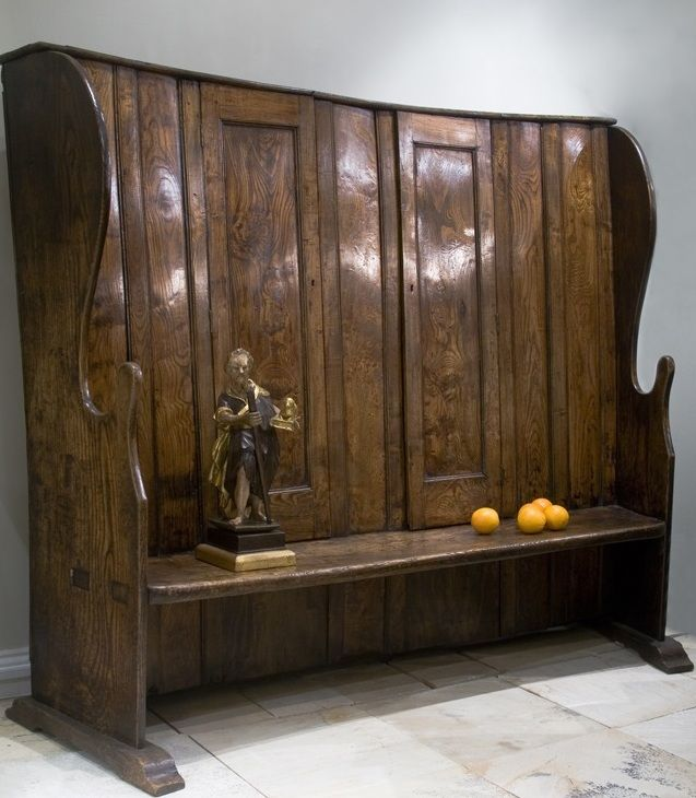 English Elm Bacon Settle, 18th Century