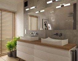 Dom pod Warszawą 160 m2 - Duża łazienka na poddaszu w domu jednorodzinnym z oknem, styl skandynawski - zdjęcie od Grafika i Projekt architektura wnętrz