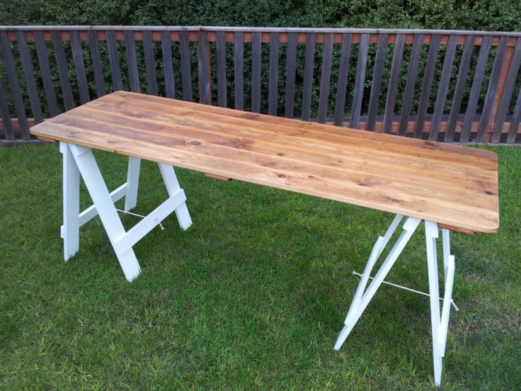 Vintage recycled timber industrial trestle table - retro office work desk dining | eBay