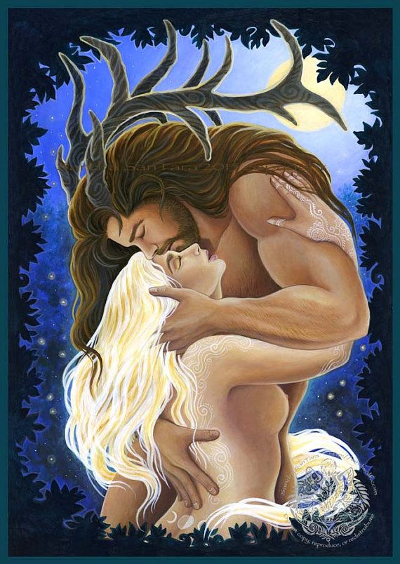 Herne Cernunnos and Selene the Moon Goddess by WindwolfStudio
