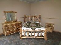 Rustic Aspen Log BEDROOM SET- QUEEN -Complete Bed, Dresser, Nightstand, Mirror