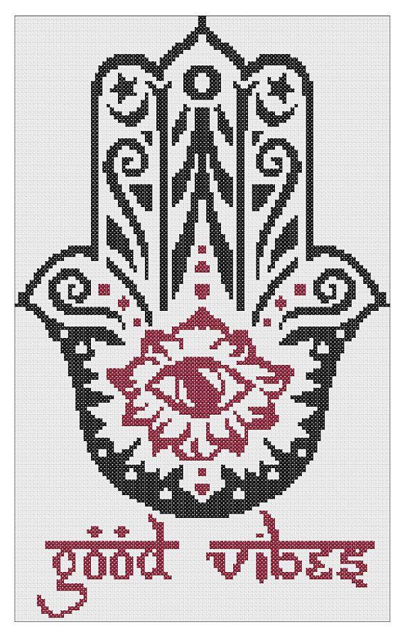 Good Vibes Hamsa Cross Stitch Pattern PDF (Instant Download)