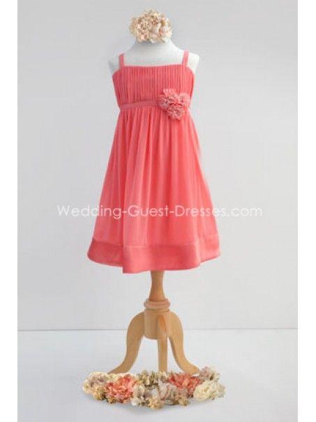 A-line Spaghetti Straps Knee Length Chiffon Junior Bridesmaid Dresses