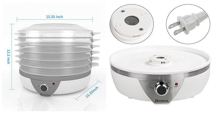 Electric Food Dehydrator Fruit Vegetable Dryer Machine Jerky Maker 5 Trays 500W #ElectricFoodDehydrators
