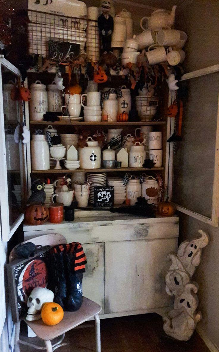 Rae Dunn Halloween display. Halloween kitchen, Halloween