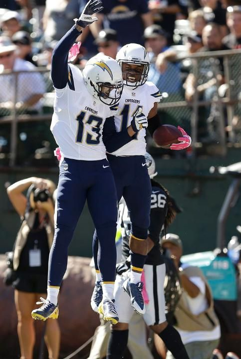 Chargers-Raiders Game Photos---Keenan Allen and Eddie Royal