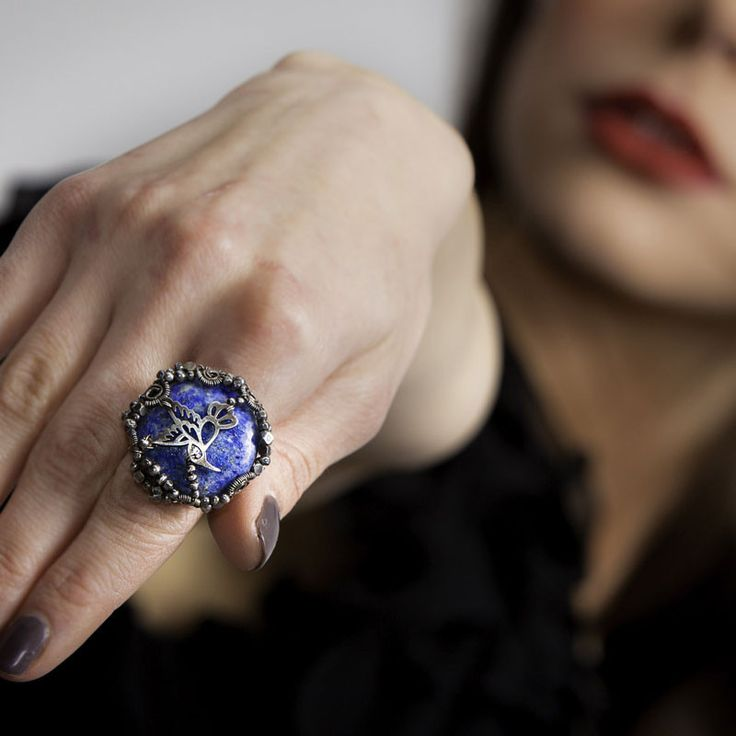 JACKIE - Ring in sterling silver and lapis lazuli stone by Mademoiselle M