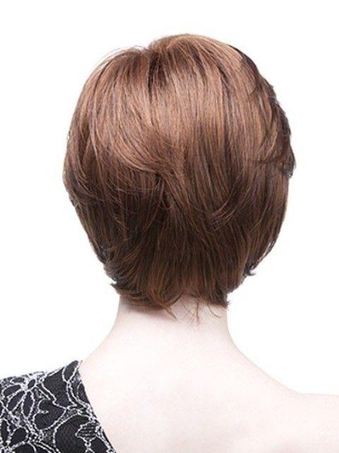 Brunette Straight Cropped Wig With Side Swept Fringe
