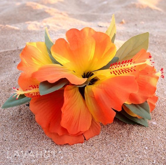 Hibiscus Orange Hawaiian Flower Hair Clip