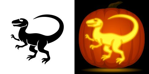 Dinosaur pumpkin carving stencil. Free PDF pattern to download and print at http://pumpkinstencils.org/download/dinosaur-pumpkin-stencil/