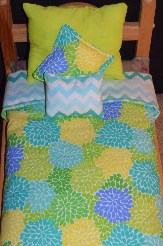"American Girl Doll Bedding - Pom Pom Chevron 4 Piece Bedding Set for 18"" Dolls"