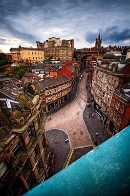 Newcastle's Dean Street, viewed from the Tyne Bridge.