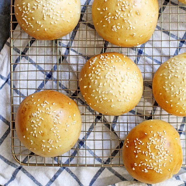 Easy and delicious no-rise super soft hamburger buns made in less than 45 minutes.
