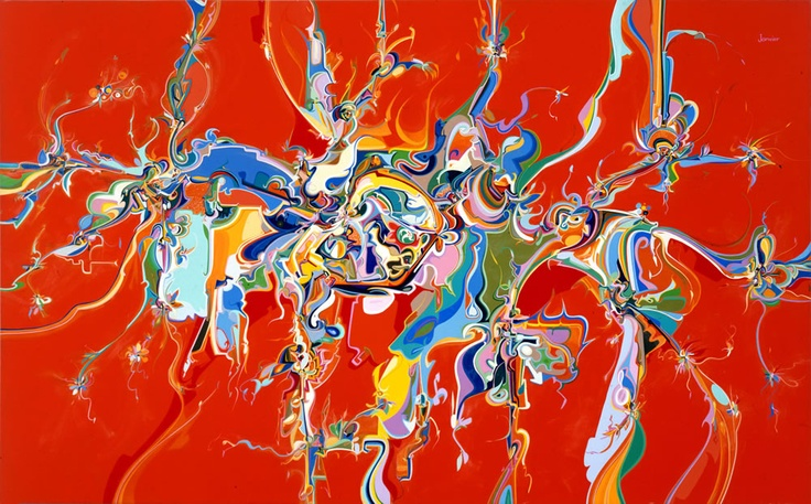 Alex Janvier. Dene/Saulteaux/Canadian, 1935– Lubicon, 1988. Acrylic on canvas. 165.2 x 267 cm. Purchased with funds from the Estate of Jean Victoria Sinclair; 98.13. Lent by: Art Gallery of Alberta to the @Vicki Smallwood Kerfoot Art Gallery for 100 Masters: Only in Canada, May 11 - Aug 18, 2013.