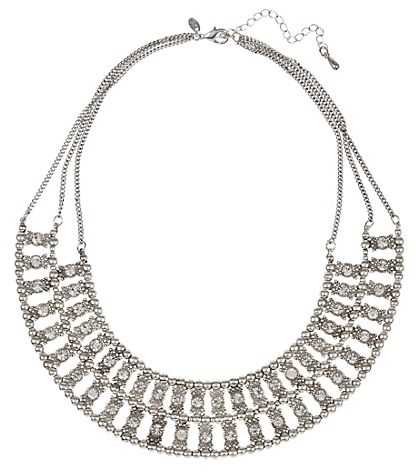 Indigo Collection Diamanté Stone Ripple Bead Collar Necklace