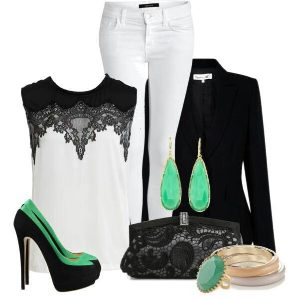 White, black, lace and pops of green ♥