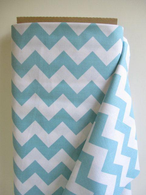 Aqua Medium Chevron Fabric by Riley Blake Designs by minimushrooms, $9.00