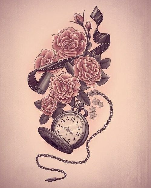 Stop watch with roll of film and flowers tattoo board for Stop watch tattoos