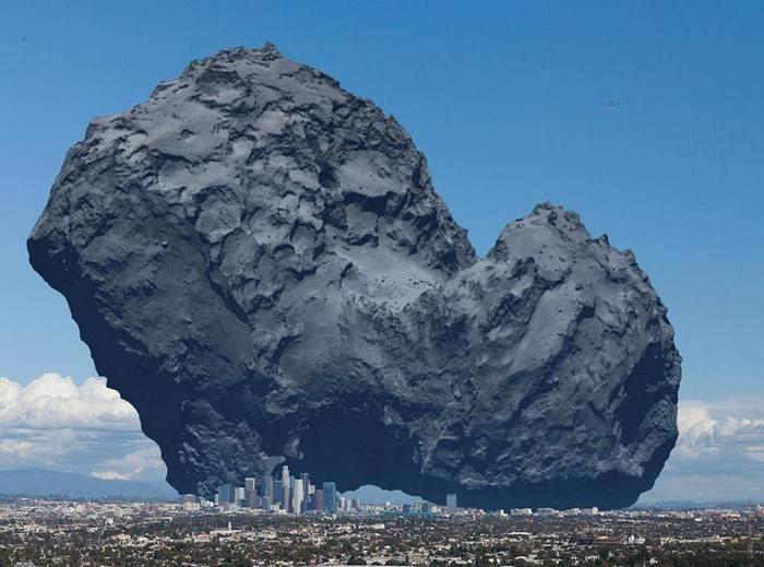 центр Лос-Анджелеса. Размеры ядра кометы Чурюмова-Герасименко составляет примерно 3 на 5 км.