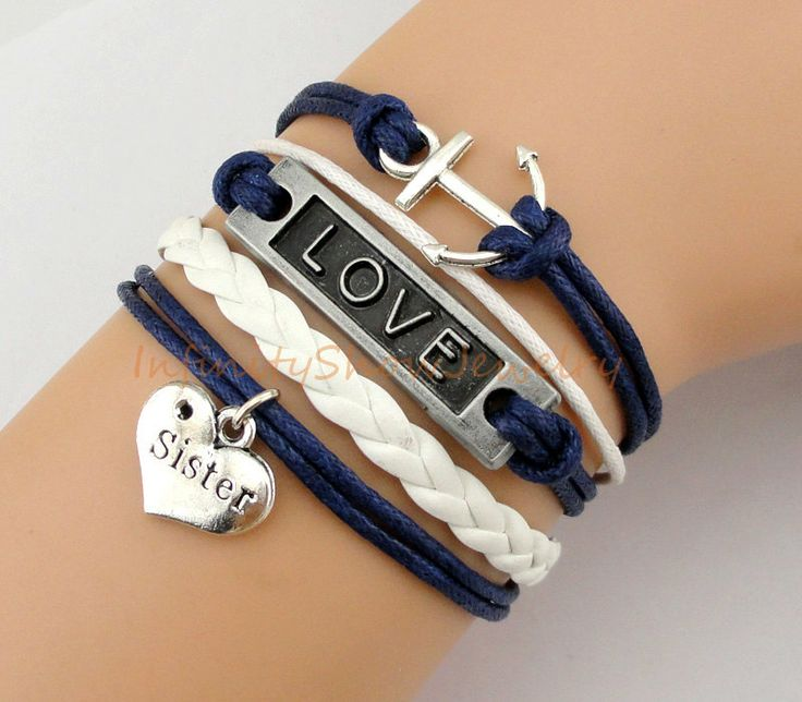 Bracelet+Anchor+Love+Sister+Navy+Wax+Cords+by+InfinityShowJewelry,+$4.99
