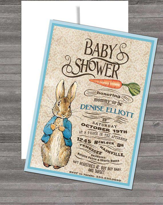 Vintage Peter Rabbit Beatrix Potter Baby Shower by InvitingParties, $15.99