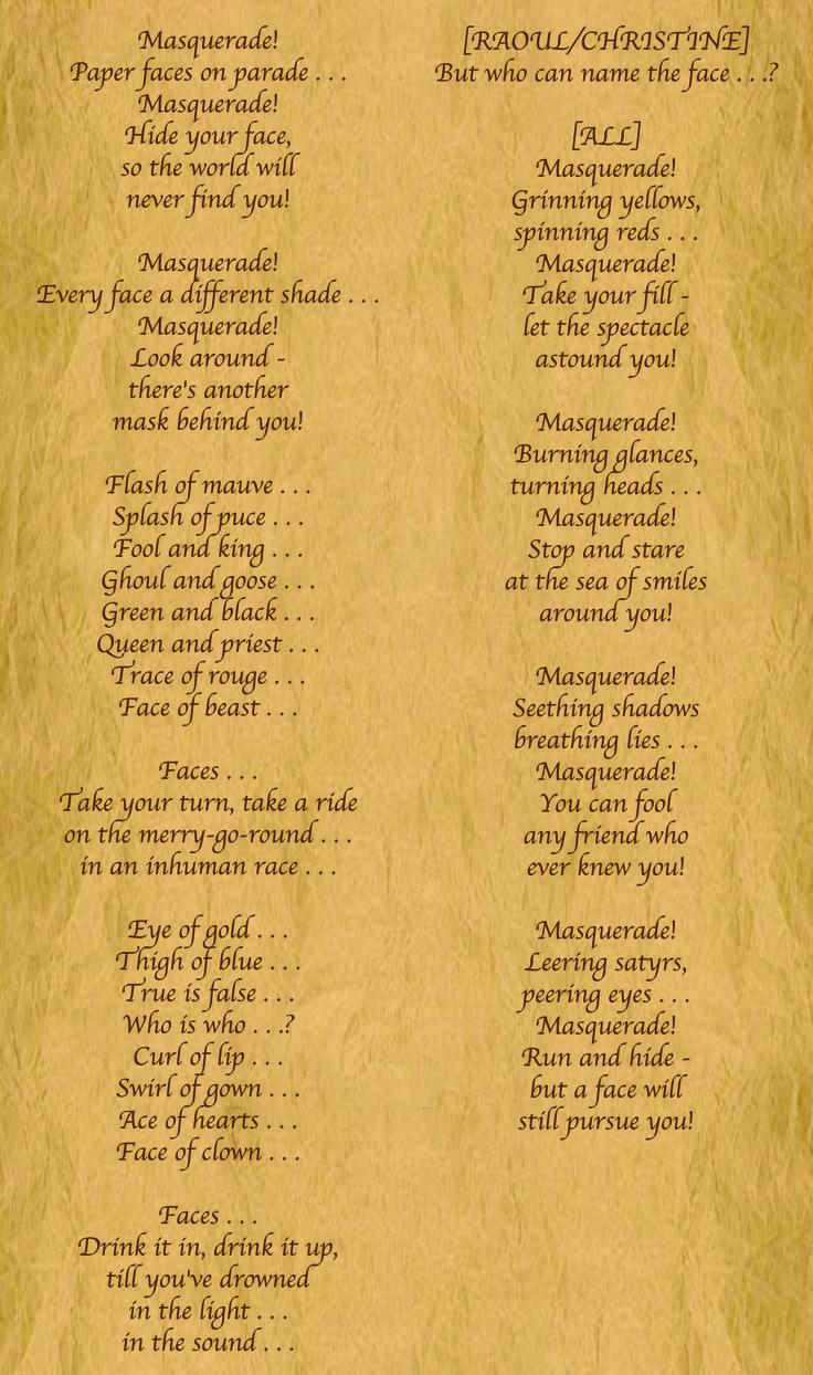 Lyrics to Masquerade from Phantom of the Opera.