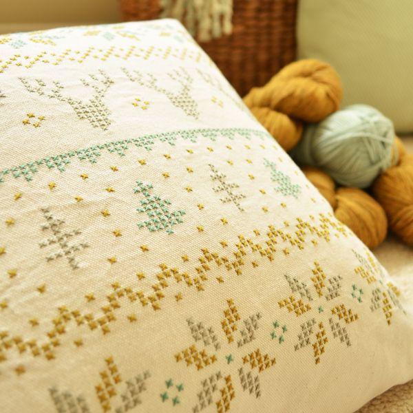 Image of Winter Fair Isle Cross Stitch Cushion Kit