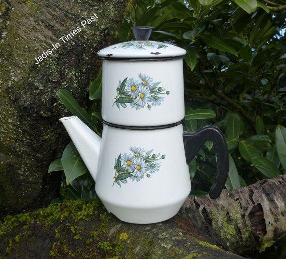 Vintage Enamelware Coffee Pot. Vintage by JadisInTimesPast on Etsy