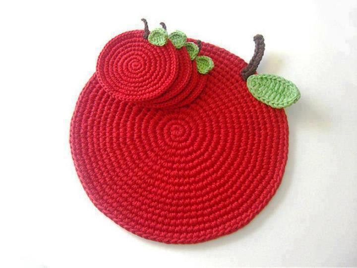individuales y portavasos en crochet