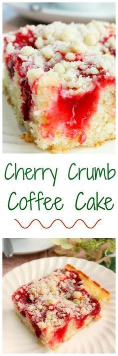 Cherry Coffee Cake with Crumb Topping -- a delicious and easy coffee cake! http://bunnyswarmoven.net/2014/07/delicious-cherry-coffee-cake-with-crumb-topping