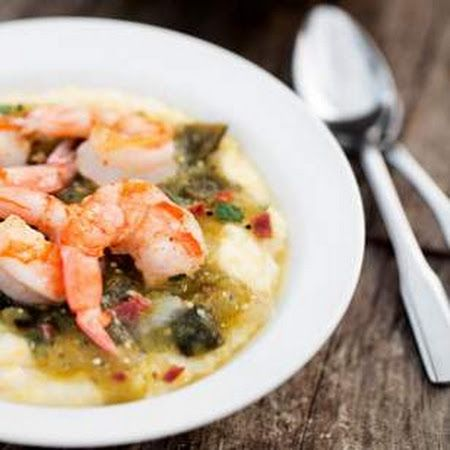 Shrimp  Grits with Tomatillo Sauce