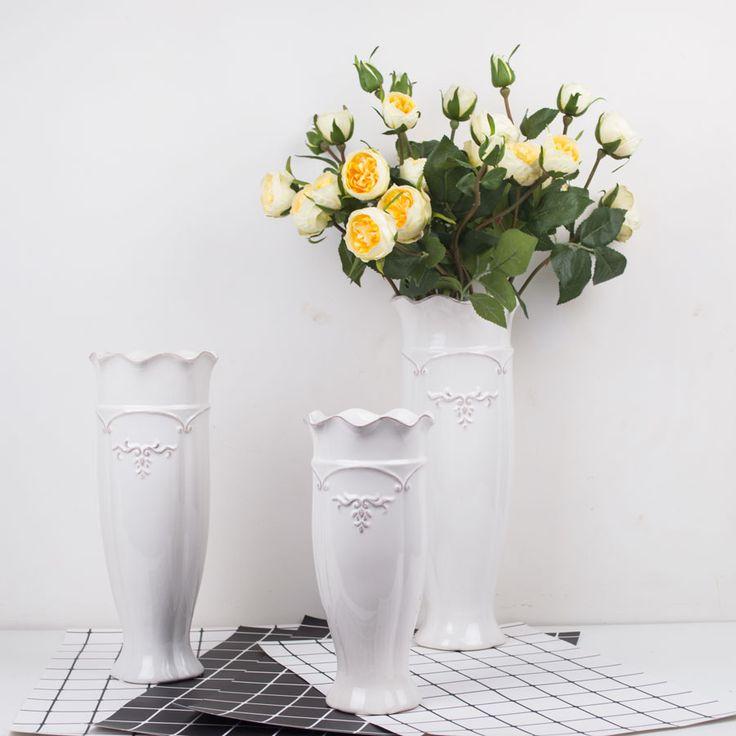 DH Ceramic Flower white vase porcelain Vases marriage for Home decoration accessories fairy garden large floor vase