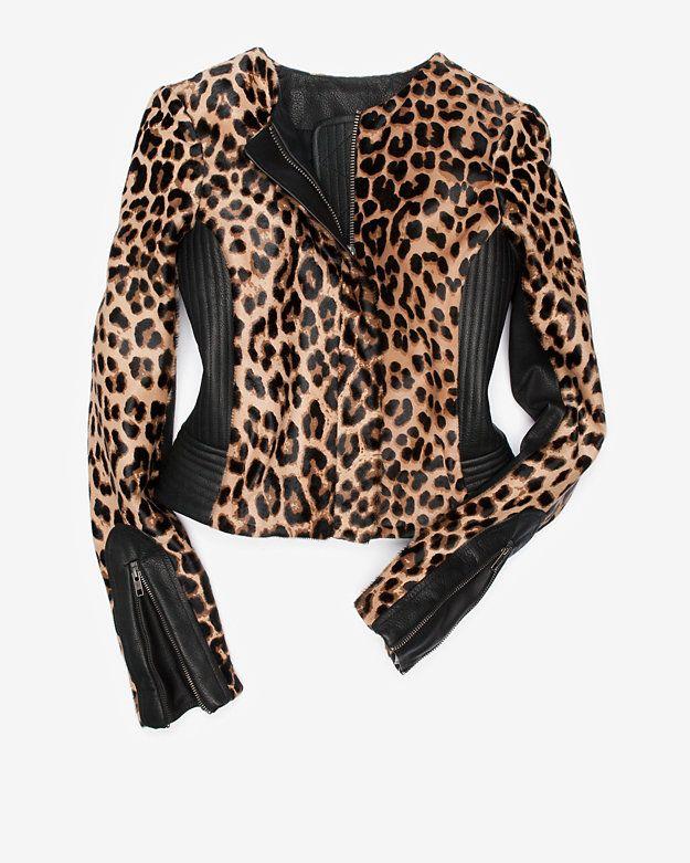 A.L.C. EXCLUSIVE Saville Leopard Print Calfhair Leather Jacket