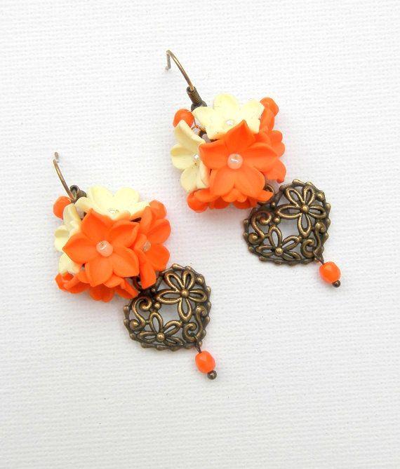 Orange earrings Flowers Spring jewelry Dangle by insoujewelry