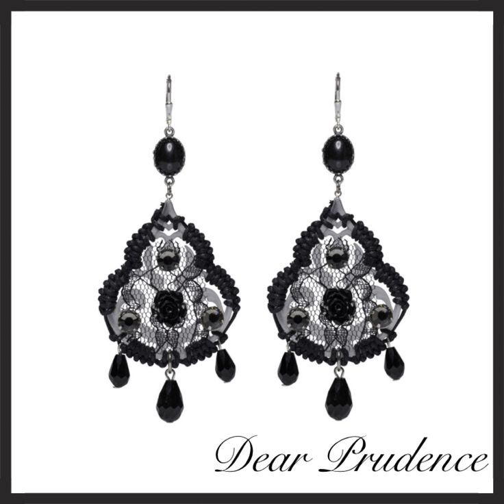 Dear Prudence earrings with lace, onyx and more.