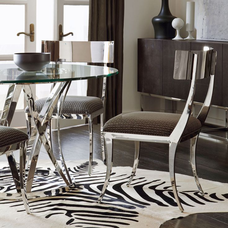 Bernhardt Interiors Gustav Metal Side Chair Argent Round Dining Table Mirror Polished Stainless