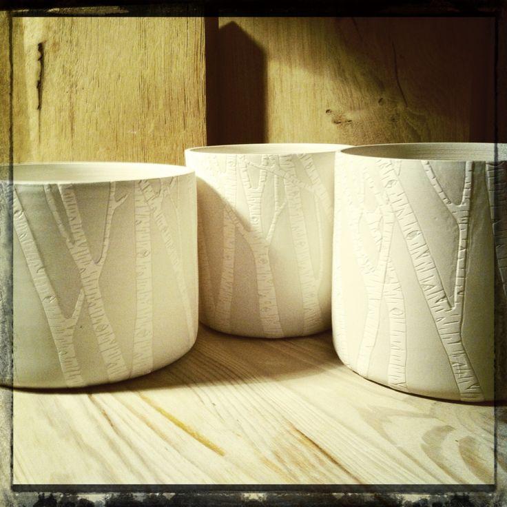 Barbara Lormelle Ceramics - Grands pots grès, engobe de porcelaine