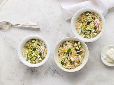 Orzo with Zucchini, Dill, and Feta - sounds like a perfect warm weather meal from @countryliving