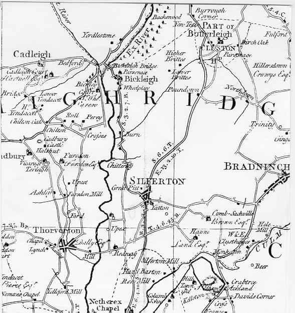 Map of the county of Devonshire, 1760 by Benjamin Donn - shows location of Bradninch. Source:  www.devon.gov.uk
