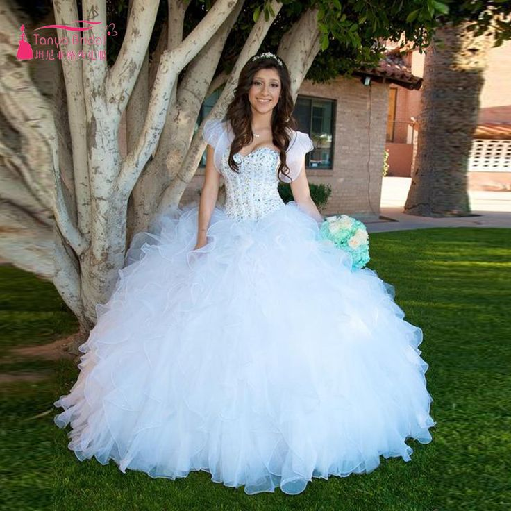 Find More Quinceanera Dresses Information about Bling Bling sheer Neck  White…